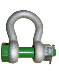 Bow shackle with safety bolt
